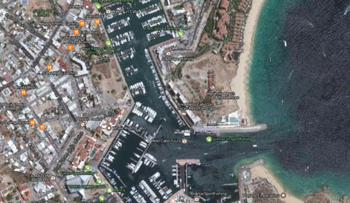 Cruising to Cabo San Lucas - photos, maps and Information on ... on map of newport marina, map of puerto vallarta marina, map of key largo marina, cabo san lucas marina, map of delta marina,
